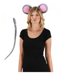 Costume Mouse EArs Tail Kit Gray Pink