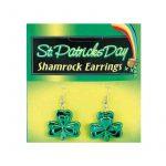 Green Metallic Shamrock Earrings