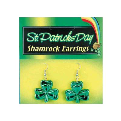 Green Metallic Shamrock Earrings