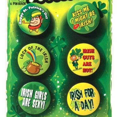 Round Metal St Patrick Buttons