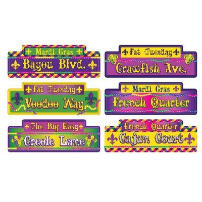 "12"" Assorted Mardi Gras Street Sign Cutouts"