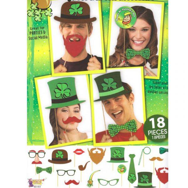 18-Piece Saint Patricks Photo Booth Accessories Kit
