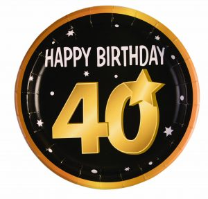 40th Birthday Round Paper Plates (8 Pack)