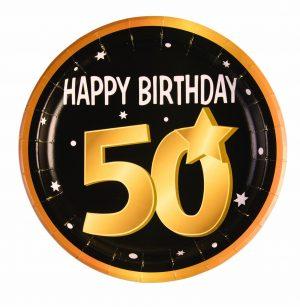 50th Birthday Round Paper Plates (8 Pack)