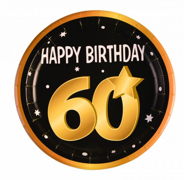 60th Birthday Round Paper Plates (8 Pack)