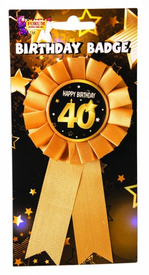40th Birthday Ribbon Rosette Pin