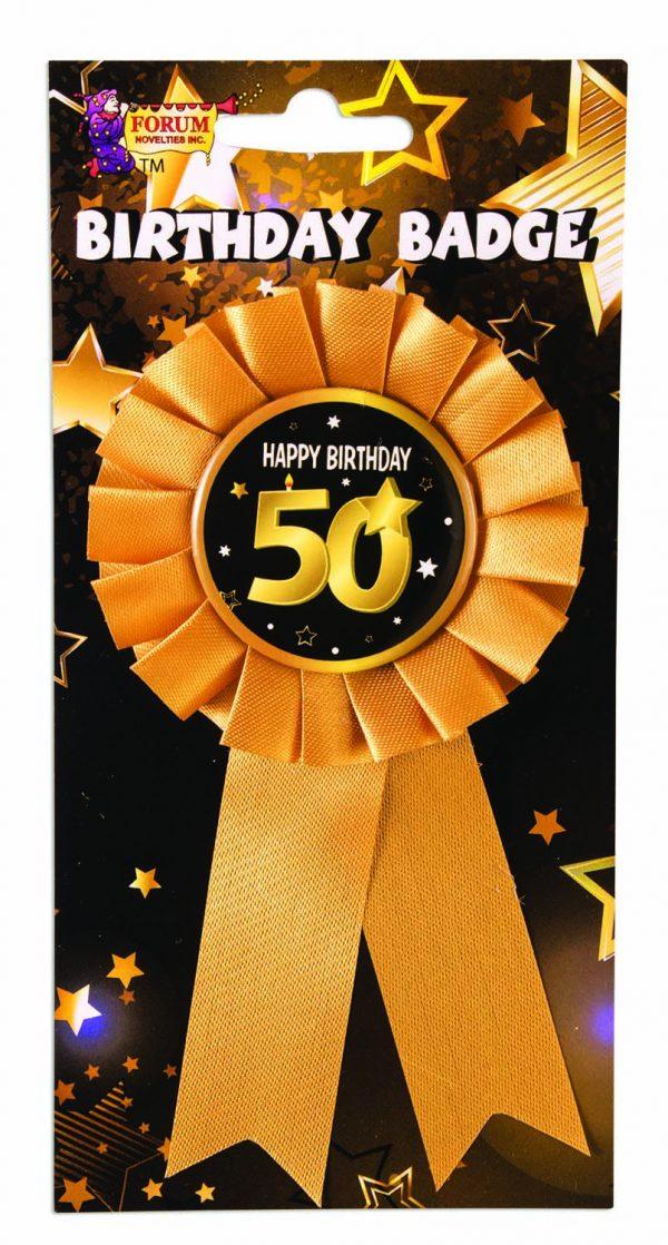 50th Birthday Ribbon Rosette Pin
