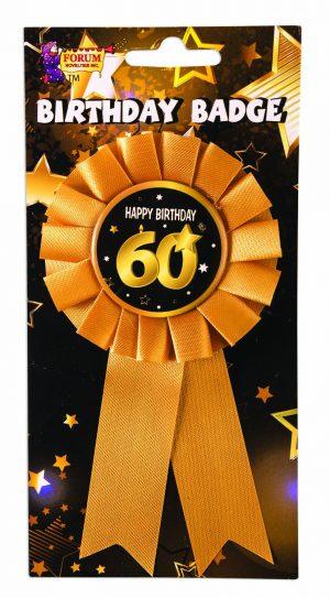 60th Birthday Ribbon Rosette Pin