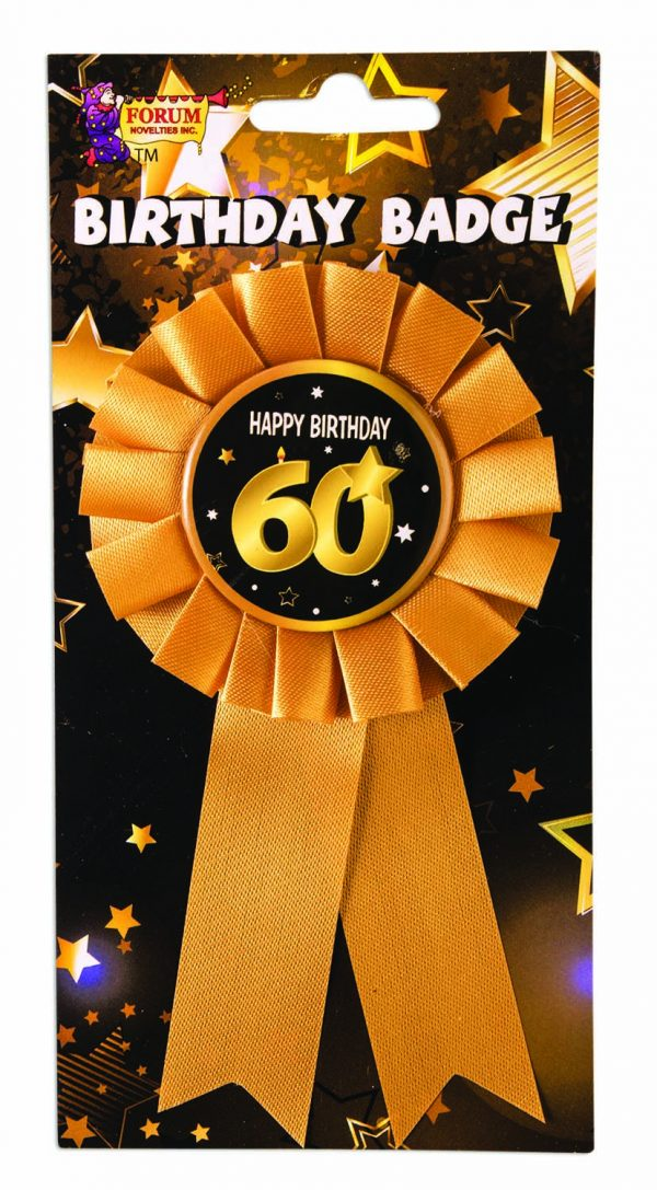 60th Birthday Ribbon Rosette Pin