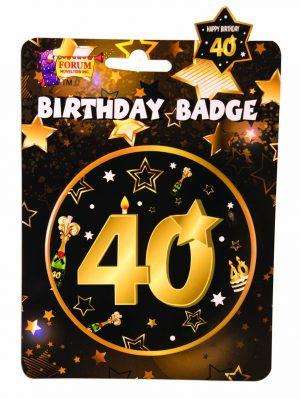 40th Birthday Button Badge