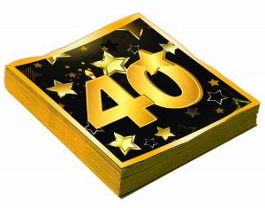 """40th Birthday 13"""" Square Lunch Napkins (16 Pack)"""