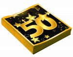 """50th Birthday 13"""" Square Lunch Napkins (16 Pack)"""