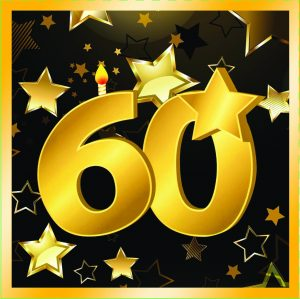 """60th Birthday 13"""" Square Lunch Napkins (16 Pack)"""