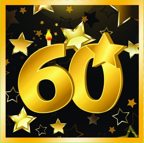 "60th Birthday 13"" Square Lunch Napkins (16 Pack)"