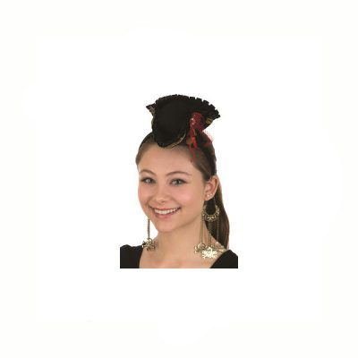 Costume Mini Pirate Hat Headband w Earrings
