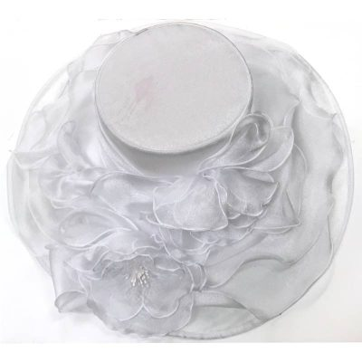 White Wide Organza Kentucky Derby Hat