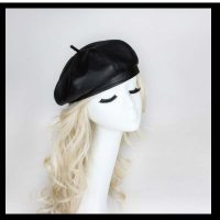 Pleather Fabric Beret Hat Tam French Artist