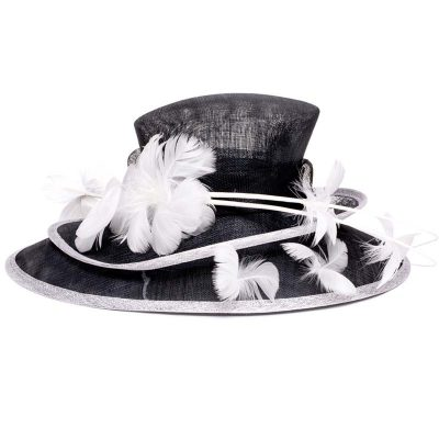 Black with White Double Layered Sinamay Kentucky Derby Hat