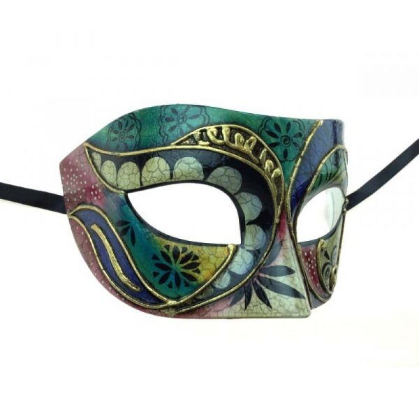 Black Costume Painted Design Venetian Half Mask