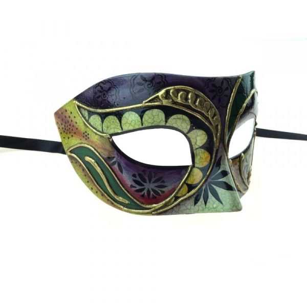 Green Costume Painted Design Venetian Half Mask