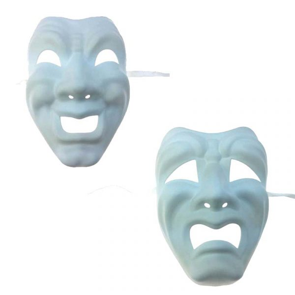 White Blank Comedy n Tragedy Full Face Mask