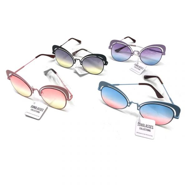 Outlined Ocean-lens Sunglasses with Eyebrows