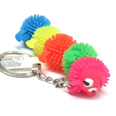 Party Neon Rubber Puffer Caterpillar Key Chain