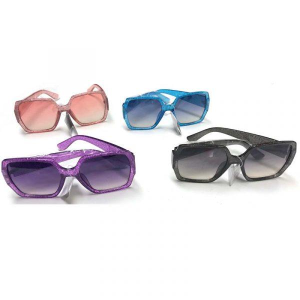 Large Lens Glitter Frame Sunglasses