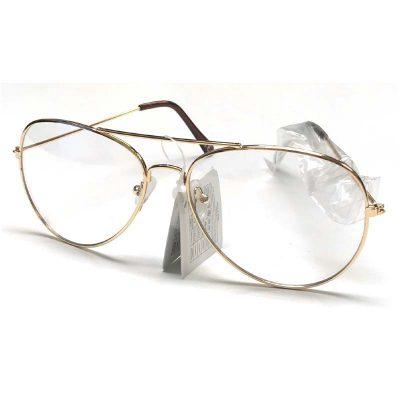 Clear Lens Gold Frame Aviator Eyeglasses