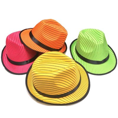 Striped Neon Satin Fedora Hat