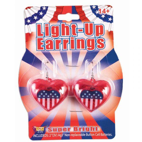 Patriotic Heart-Shape Light-Up Earrings