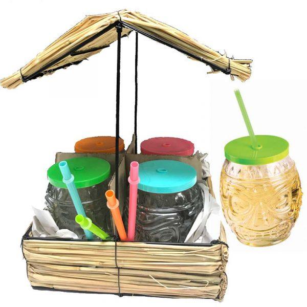4-Piece Tiki Hut w glasses lids n straws