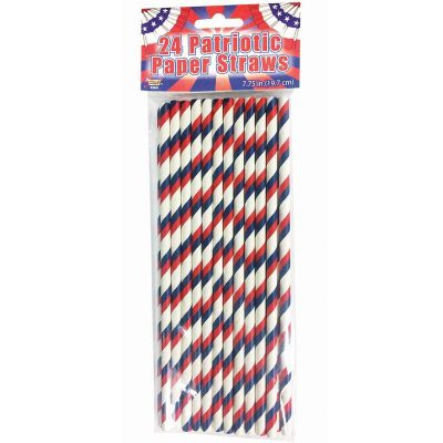 Patriotic Swirl Paper Straws