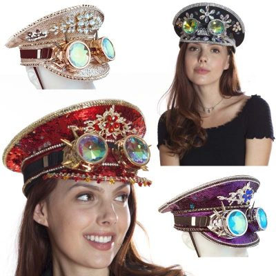 Deluxe Jeweled Burning Man Hat w Holographic Goggles