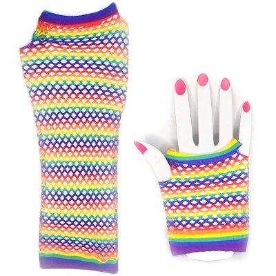 Rainbow Fabric Fishnet Gloves