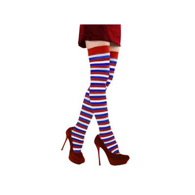 Patriotic Striped Leggings Red White Blue