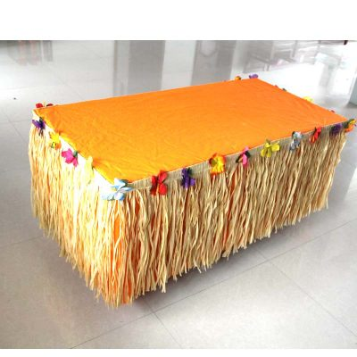 Paper Raffia-look Table Skirt with Floral Band