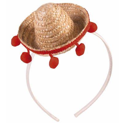 Natural Straw Mini Sombrero Hat Headband