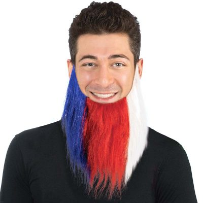 Patriotic Long Red White Blue Beard