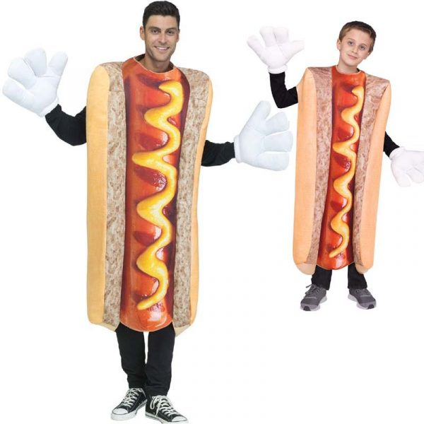 Adult and Child Hot Dog Costumes
