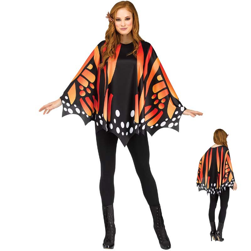 Etaclover Adult Printing Chiffon Cape Butterfly Cloak Halloween Hooded Poncho Multi Use for Dancing//Yoga//Beachwear