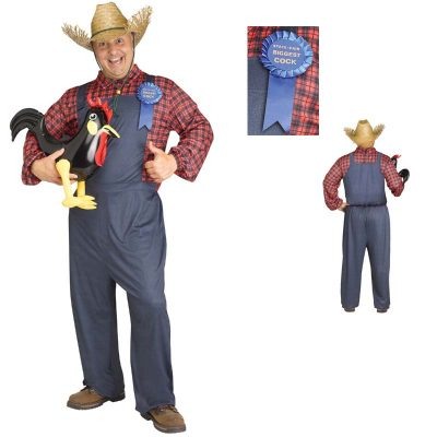 Braggart Farmer Overalls and Plaid Shirt Adult Halloween Costume