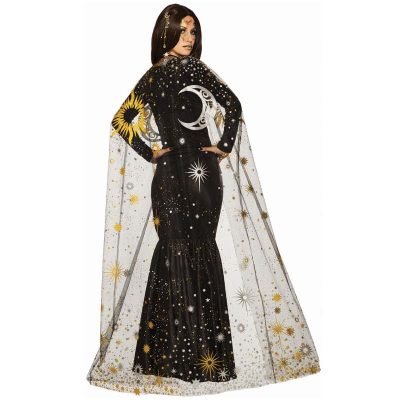 Floor-length Celestial Cape Sun Moon Stars