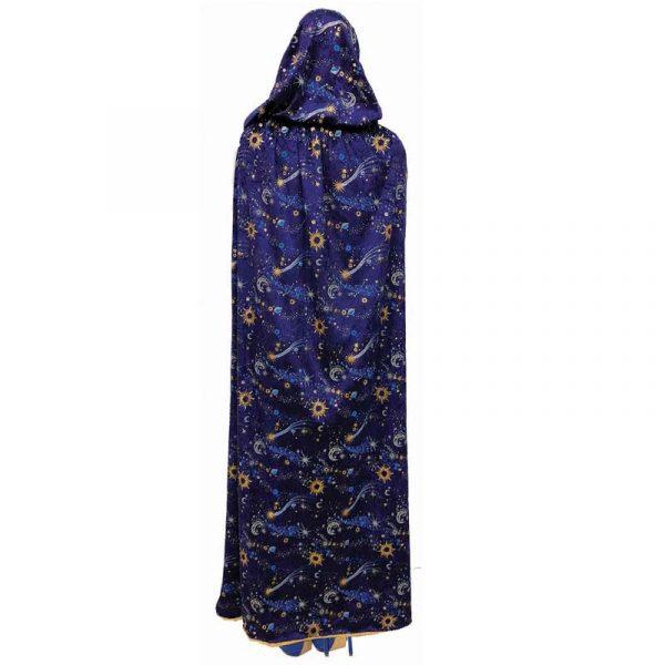 Blue Velvet Hooded Celestial Cape Gray Fur Trim
