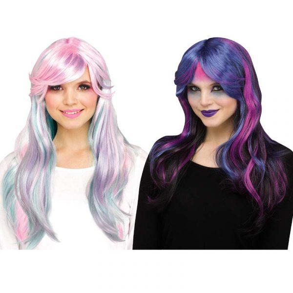 Unicorn Wig Pastel Multi Color or Black/Blue/Purple