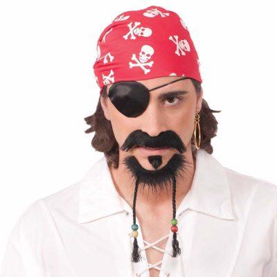 Pirate Beaded Beard Set - Brown