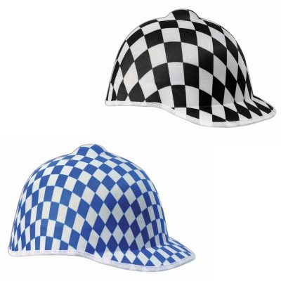 Checked Fabric Horse Jockey Hat