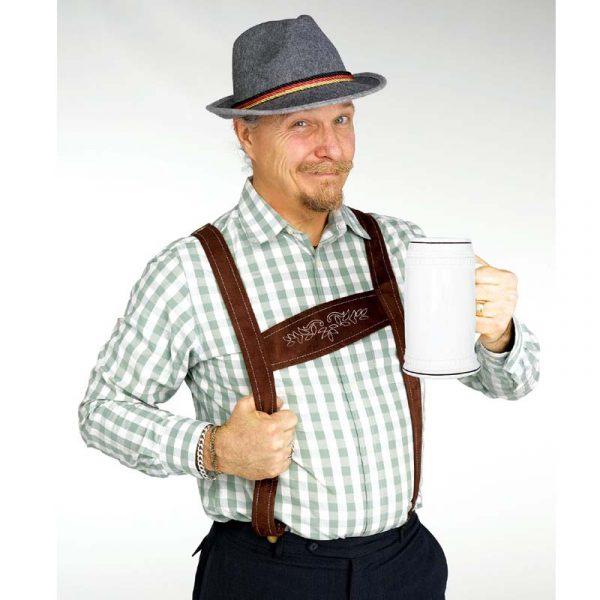 Costume German Alpine Hat w Suspenders Oktoberfest Kit