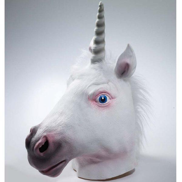 White Unicorn Mask with White Mane