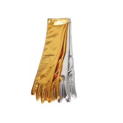 Metallic Fabric Long Gloves